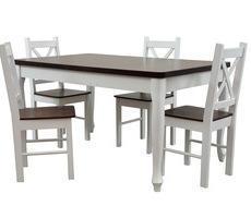 Stół + 4 krzesła - BIAŁY LUDWIK