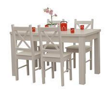 Stół + 4 krzesła -  BIAŁY/KREM