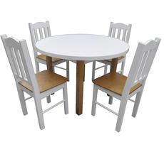 Stół + 4 krzesła - biały/krem/KOLOR