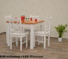 STÓŁ + 4 KRZESŁA - W1 90X90/140 + 4 KR-79 - biały
