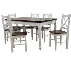 Stół + 6 krzeseł - BIAŁY LUDWIK