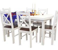 Stół + 6 krzeseł - MDF BIAŁY/KREM