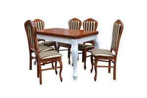 Stół + 6 krzeseł -  okleina naturalna MDF