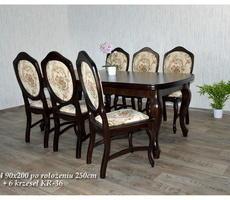 Stół + 6 krzeseł - OKLEINA NATURALNA, MDF