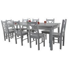 Stół + 8 krzeseł - BIAŁY/KREM