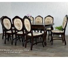 Stół + 8 krzeseł - OKLEINA NATURALNA, MDF