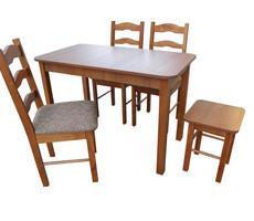 Stół drewniany 110x60 + 3 krzesła + taboret