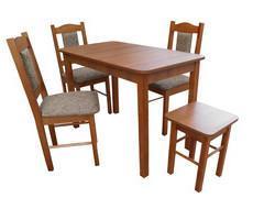 Stół drewniany 110x60 z 3 krzesłami i taboretem
