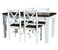 Stół drewniany + 4 krzesła - BIAŁY/KREM