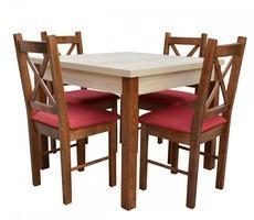 Stół drewniany kwadratowy 90x90 z krzesłami