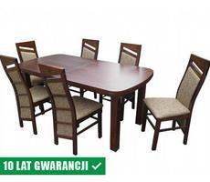 Stół drewniany z krzesłami 90x200 - rozkładany
