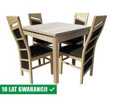 Stół kwadratowy do salonu + 4 krzesła