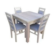 Stół kwadratowy drewniany z krzesłami - rozkładany