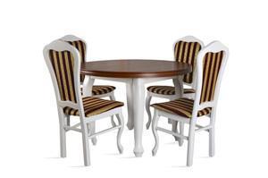 Stół okrągły + 4 krzesła - MDF LUDWIK