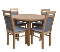 Stół okrągły + 4 krzesła- zestaw do jadalni