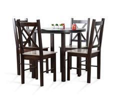 Stół okrągły rozkładany + 4 krzesła
