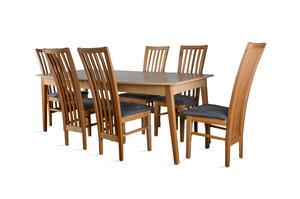 Stół prostokątny - rozkładany do 290cm + 6 krzeseł