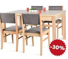 Stół rozkładany 90x90/140cm z 4 krzesłami