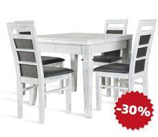 Stół rozkładany 90x90/240cm z 4 krzesłami