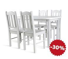 STÓŁ ROZKŁADANY do 162cm + 4 krzesła