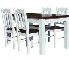 Stół rozkładany do 180cm + 4 krzesła - BIAŁY/KREM