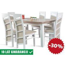 Stół rozkładany do 190cm+ 6 krzeseł model 63