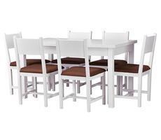 Stół rozkładany i 6 krzeseł Biały