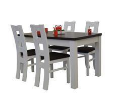 Stół rozkładany z krzesłami - kolor biały/krem
